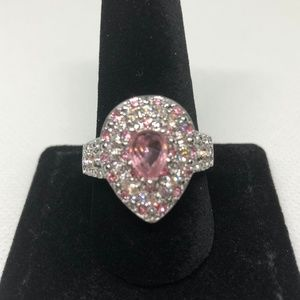 Pear Cut Pink Sapphire 925 SF Ring Size 10
